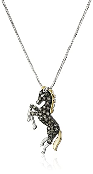 Amazon sterling silver and 14k yellow gold brown diamond sterling silver and 14k yellow gold brown diamond horse pendant necklace17 cttw aloadofball Image collections