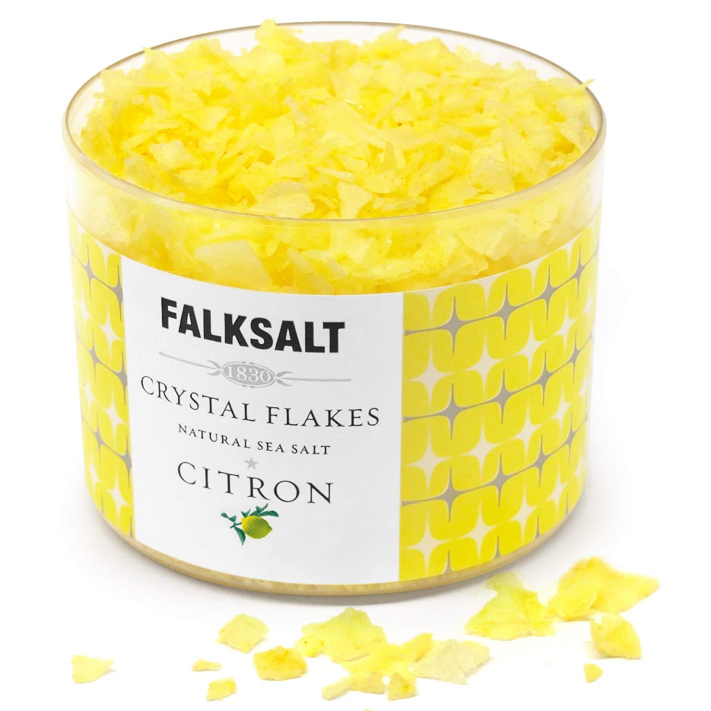 FALKSALT Citron Sea Salt Flakes - All Natural, Finishing Mediterranean Sea Salt Flakes for Meat, Poultry, Seafood, Pasta, Veggies, Sweets, & Cocktails [2.47oz – 5 Flavors Available]