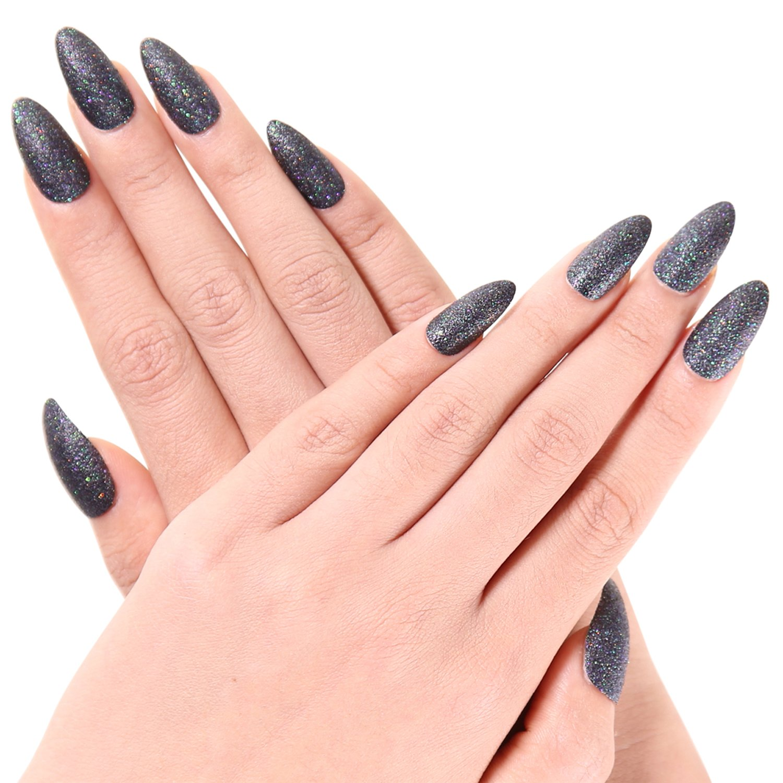 Amazon.com : Bling Art Almond False Nails Fake Stiletto Gel Purple ...