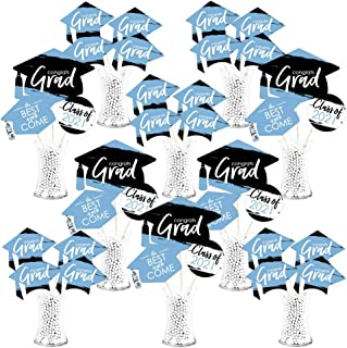 product image for Big Dot of Happiness Light Blue Grad - Best is Yet to Come - 2021 Light Blue Graduation Party Centerpiece Sticks - Showstopper Table Toppers - 35 Pieces