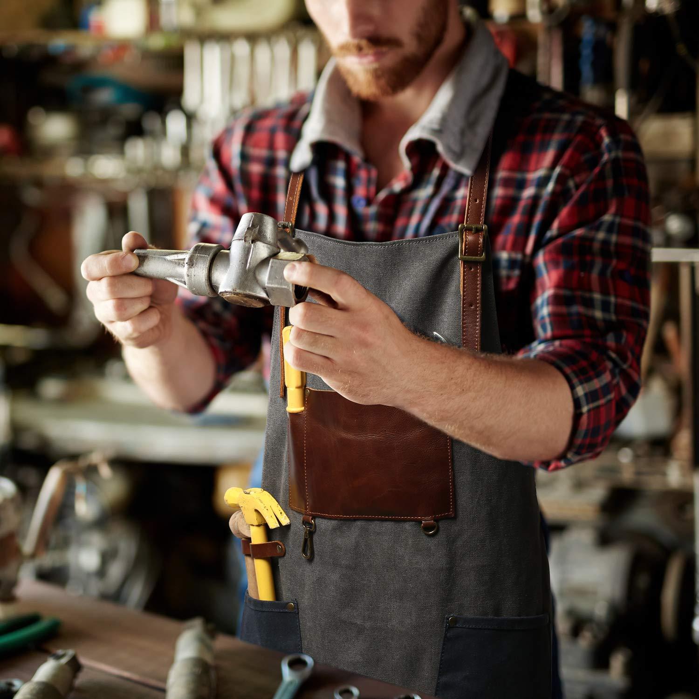 G-FAVOR Arbeitsschürze strapazierfähig wasserdicht Jeansstoff Lederriemen Leinenschürze hinten gekreuzt einstellbar Kaffee Chef Workshop Schürze mit Werkzeugtaschen Stifthalter Schlüsselbund