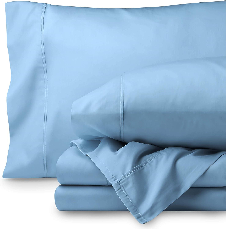 Bare Home Egyptian Cotton 300 Thread Count Sateen King Sheet Set (King, Light Blue)