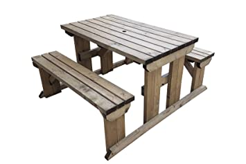 Abies Wooden Garden Picnic Table With Attached Benches Heavy Duty
