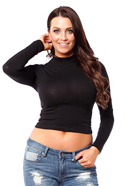 8326795945dc Hollywood Star Fashion Women's Long Sleeve Mock Neck Crop Top (Small, Black)