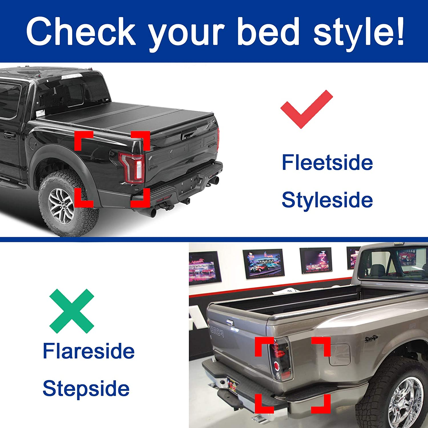 69.3 Hard Tri Fold Truck Bed Tonneau Cover Deebior 1pc 5.8ft CMH82030|+LED Lamp+Install Instruction+Waterproof Rubber Seals Compatible With 2007-2018 Chevrolet Silverado//GMC Sierra 1500