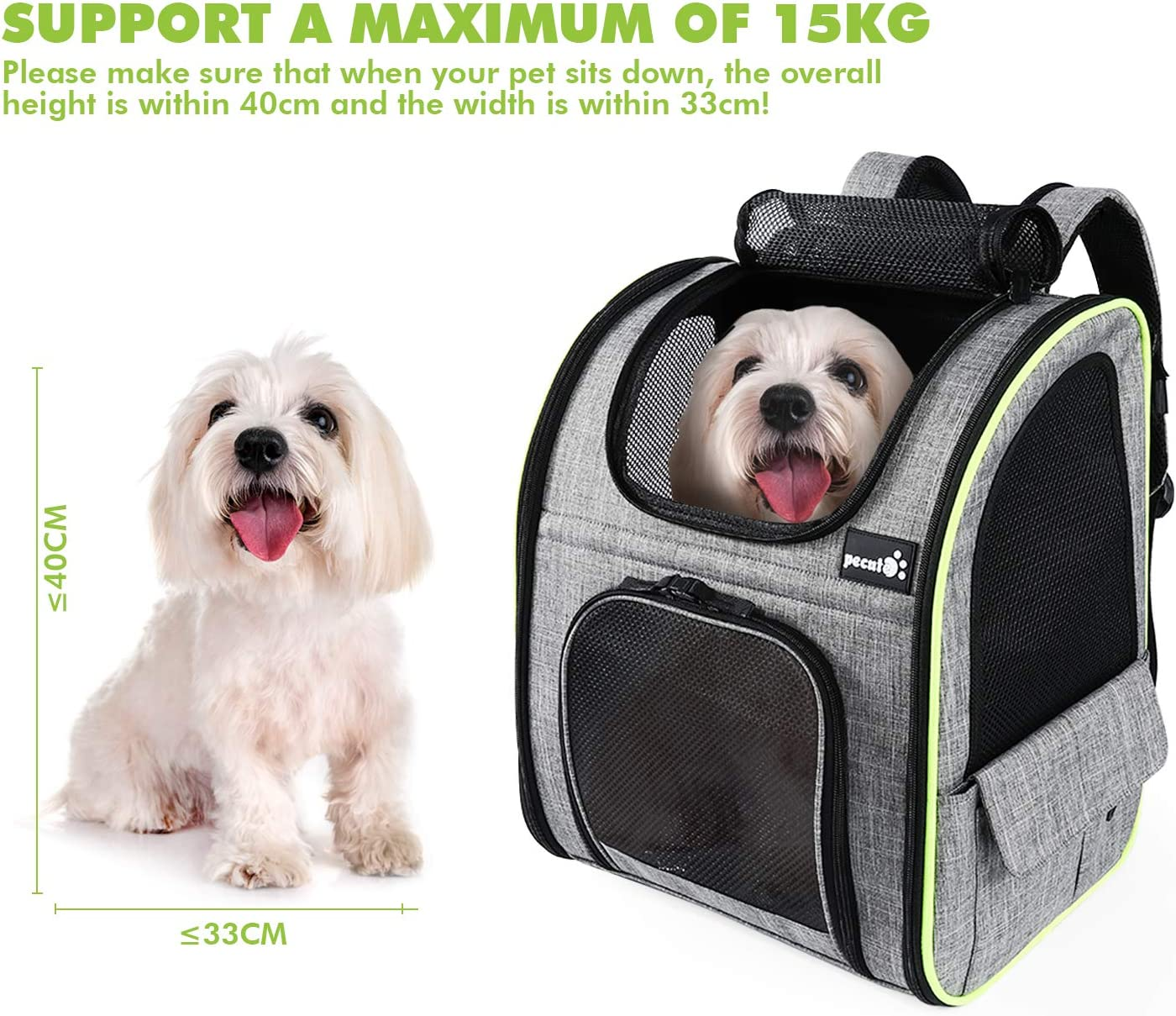 Pecute Pet Carrier Backpack Pet Backpack Bag for Hiking Travel Camping Outdoor Hold Pets Up to 18 Lbs Dog Carrier Backpack Expandable with Breathable Mesh for Small Dogs Cats Puppies