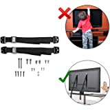 Safe-O-Kid- TV Anti-Straps/Furniture Baby Proof Wall Anchor Kit- Safety Strap for Home Safety- Black