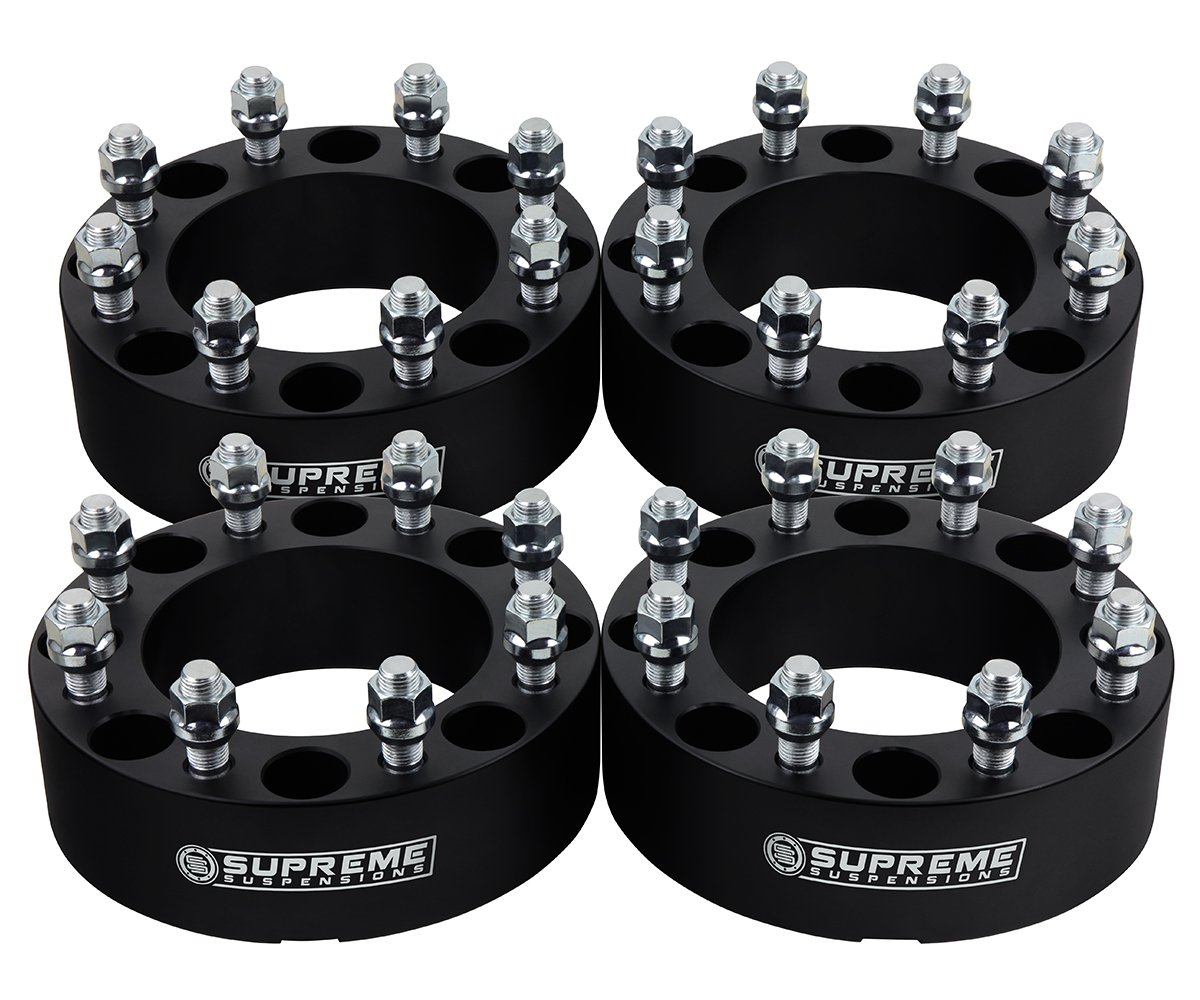 Supreme Suspensions - (4pc) 2010-2014 Dodge Ram 3500 1.5' Wheel Spacers 8x6.5' (8x165.1mm) with M14x1.5 Studs [Silver]