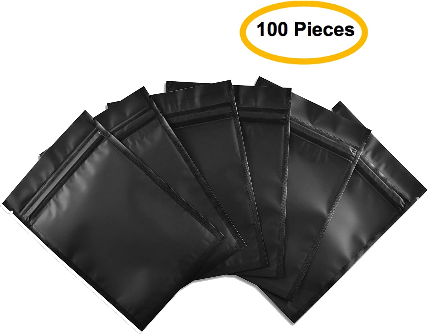Colsen 100 Foil Pouch Bag Flat Ziplock Bag for Daily Life or Party Supplies, Black (4 x 6 Inches Pack of 100)