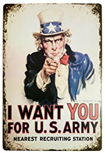 ARTCLUB I Want You for U.S. Army Retro Metal Tin Sign, Vintage Plaque Poster Home Bar Wall Decor