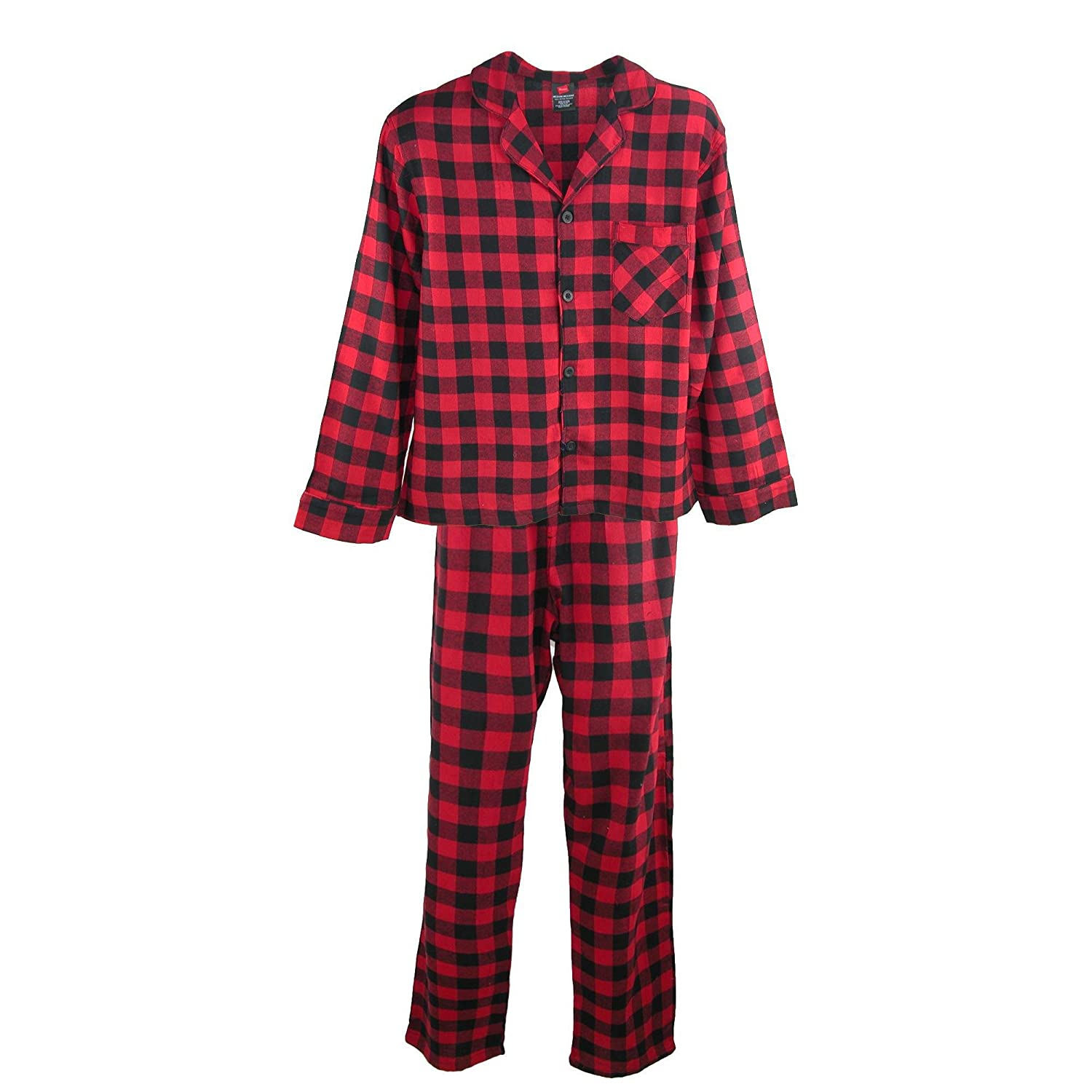 Hanes Men's Cotton Flannel Pajama Set, XL, Red