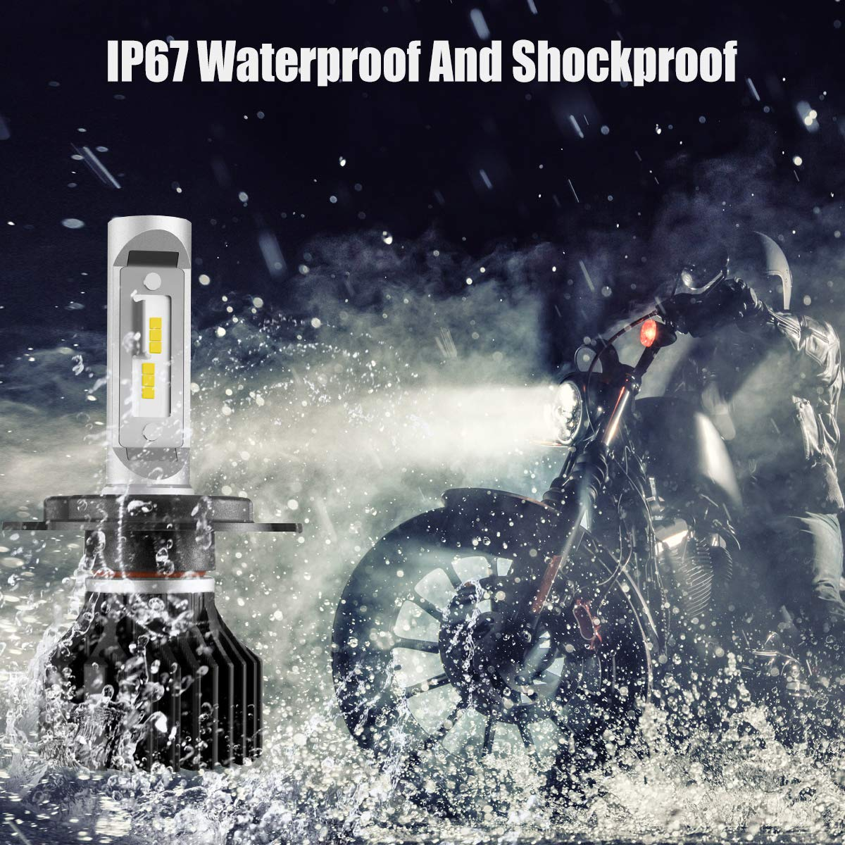 SEALIGHT High//Low Beam 6000K H4//9003 LED Motorcycle Headlight Bulbs Conversion Kit DOT Approved