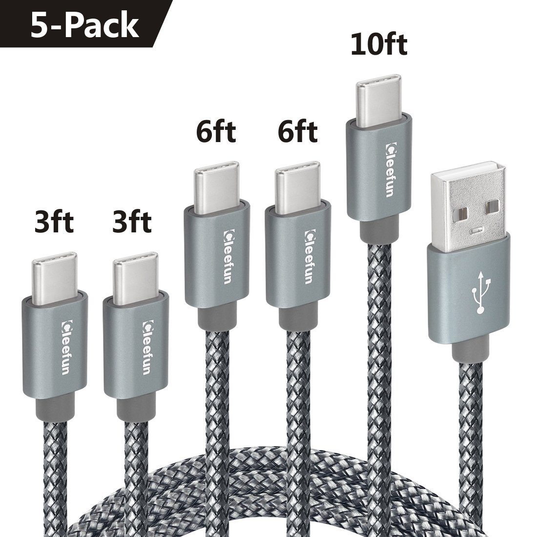 USB C Cable Durable Nylon Brained,[5-Pack, 3Ft 3Ft 6Ft 6Ft 10Ft] Cleefun Fast Charge Type C Charger Cord Charging & Sync For Samsung Galaxy S8 S9 Plus Note 8, Lg V30 V20 G5 G6 Google Pixel Xl(Gray) by Cleefun