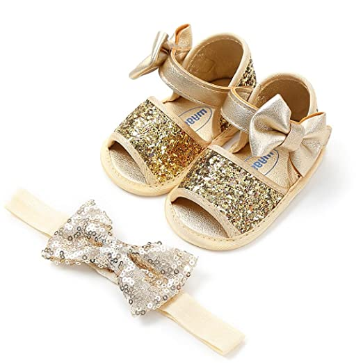 a4fea3d76520 Highpot Baby Girls Bowknot Sequins Bling Mary Jane Flat Crib Shoes with  Headband (0~