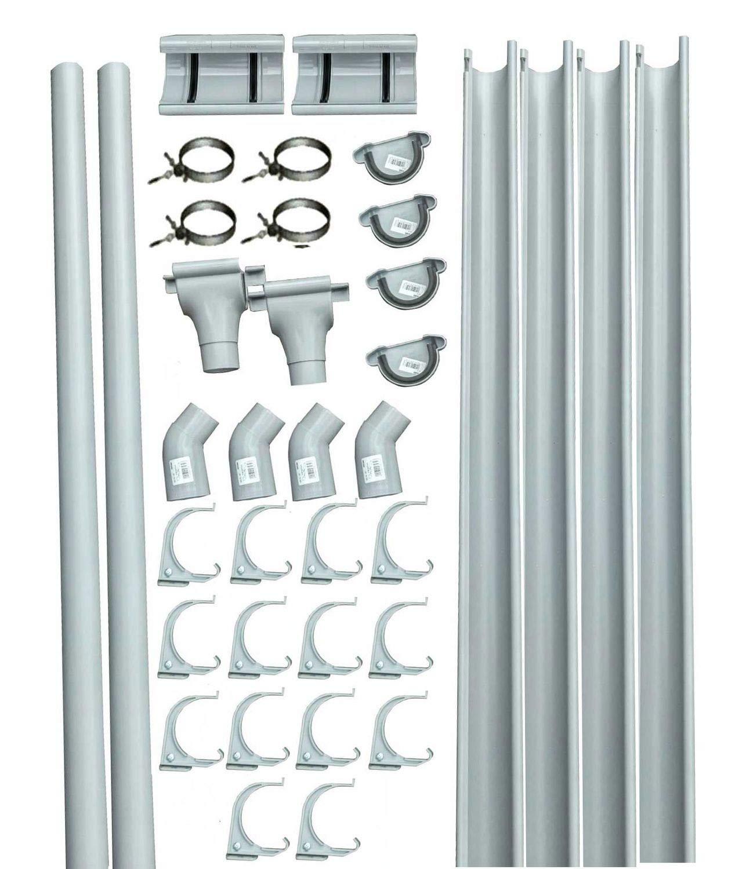 Marley Dachrinnen-Set RG 75 f/ür Blockh/äuser mit Seitenl/ängen bis 3 m grau