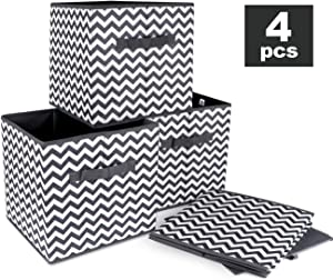 ilauke Foldable Storage Bins 11.8'' Cloth Cube Organizer Baskets Containers with Double Handles for Nursery, Offices, Home, Closet and Garden, Gray, 4 Pack