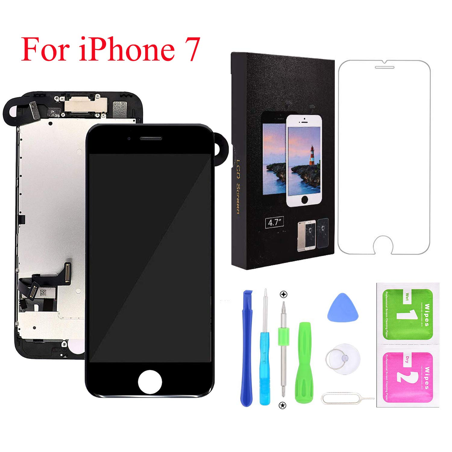 Screen Replacement for iPhone 7, LCD Display and Touch Screen Digitizer Replacement Full Assembly with Proximity Sensor+Ear Speaker+Front Camera and Screen Replacement Repair Tool and Protector