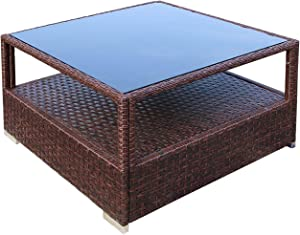 DIMAR garden Outdoor Coffee Table Wicker Patio Furniture Conversation Set Rattan Patio Coffee Tables with Glass Top and Storage Shelf (29.5in, Mix Brown)