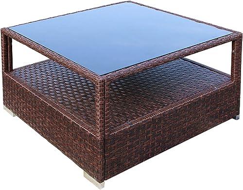 DIMAR garden Outdoor Coffee Table Wicker Patio Furniture Conversation Set Rattan Patio Coffee Tables
