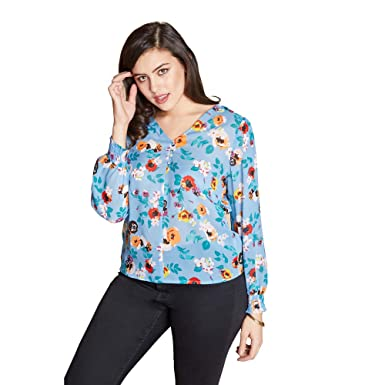 28977133578 Yumi Curves Spring Floral Button Front Top: Amazon.co.uk: Clothing
