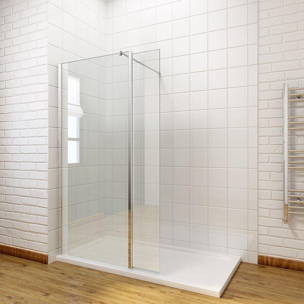 ELEGANT 700mm Wet Room Shower Screen Panel 8mm Easy Clean Glass Walk in Shower Enclosure sunny showers