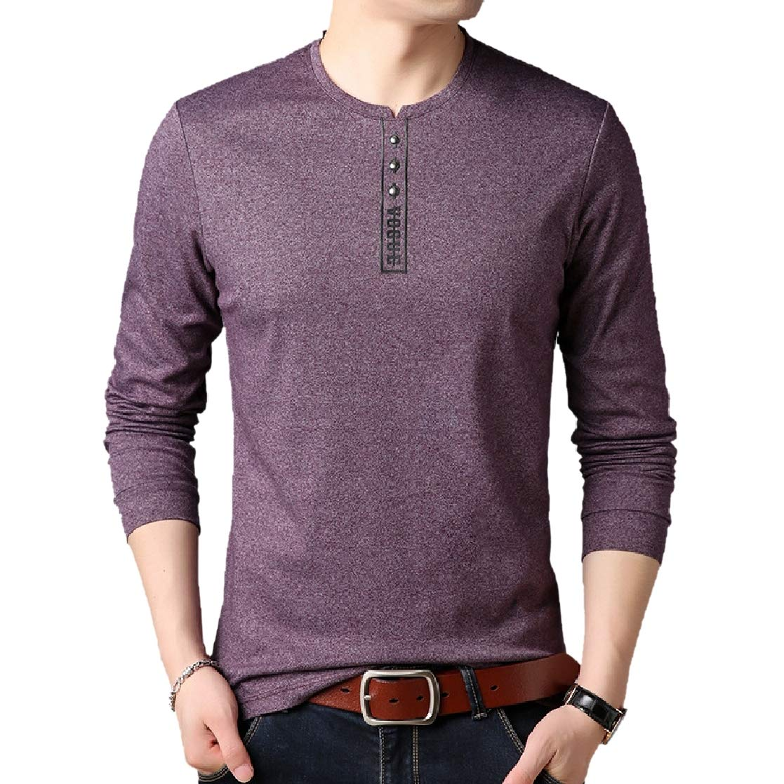 YUNY Men Basic Pure Color Plus Size Pullover Polo Top Tshirt Purple 2XL