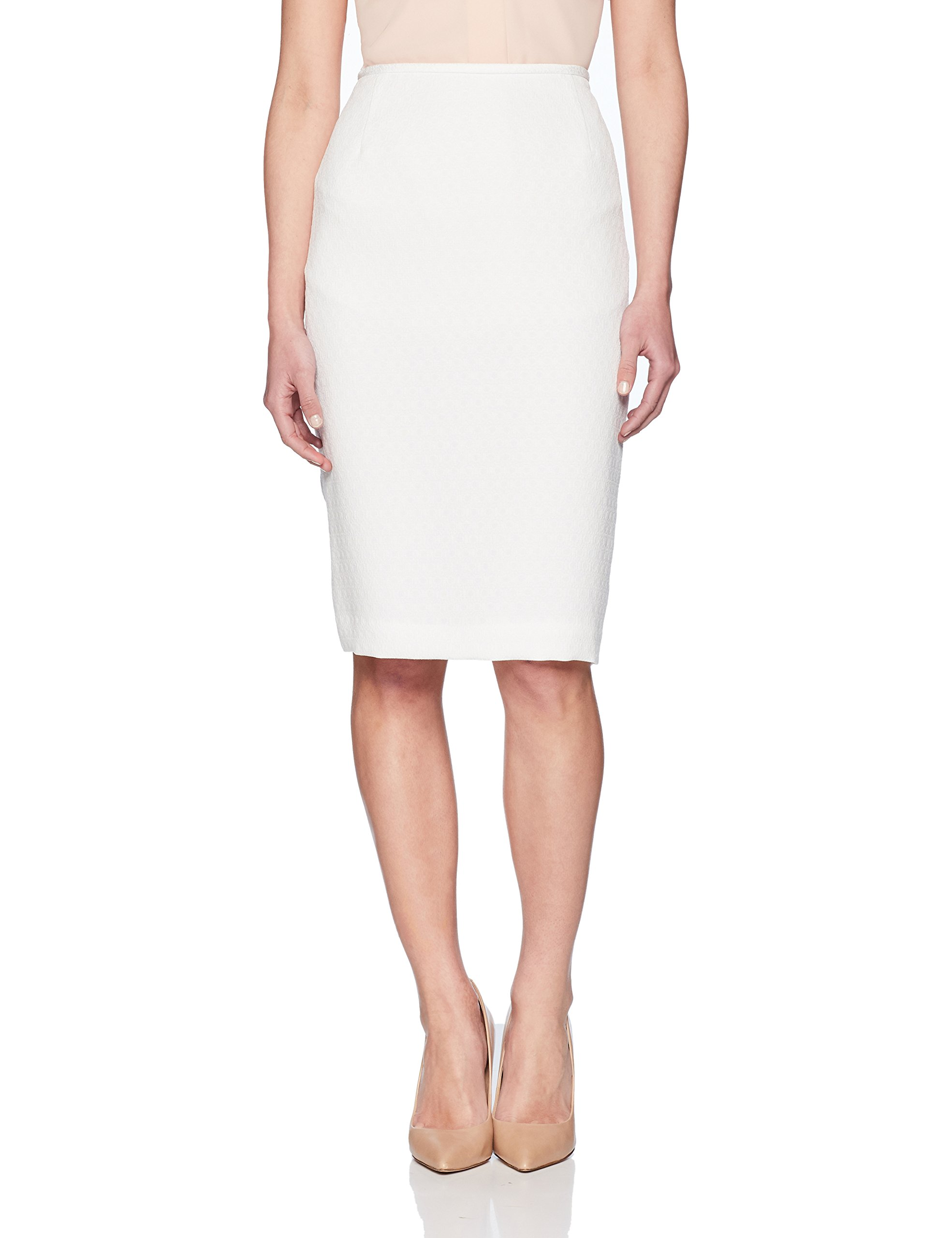 Le Suit Women's Petite Eyelet Jacquard 3 Bttn Petal Collar Suit, White, 12P by Le Suit (Image #3)