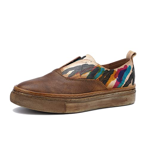 Zapatillas de Skate para Mujer con Suela Gruesa en Primavera y Verano Mocasines Vintage de Cuero Genuino Elegantes y cómodos Zapatos sin Cordones: ...