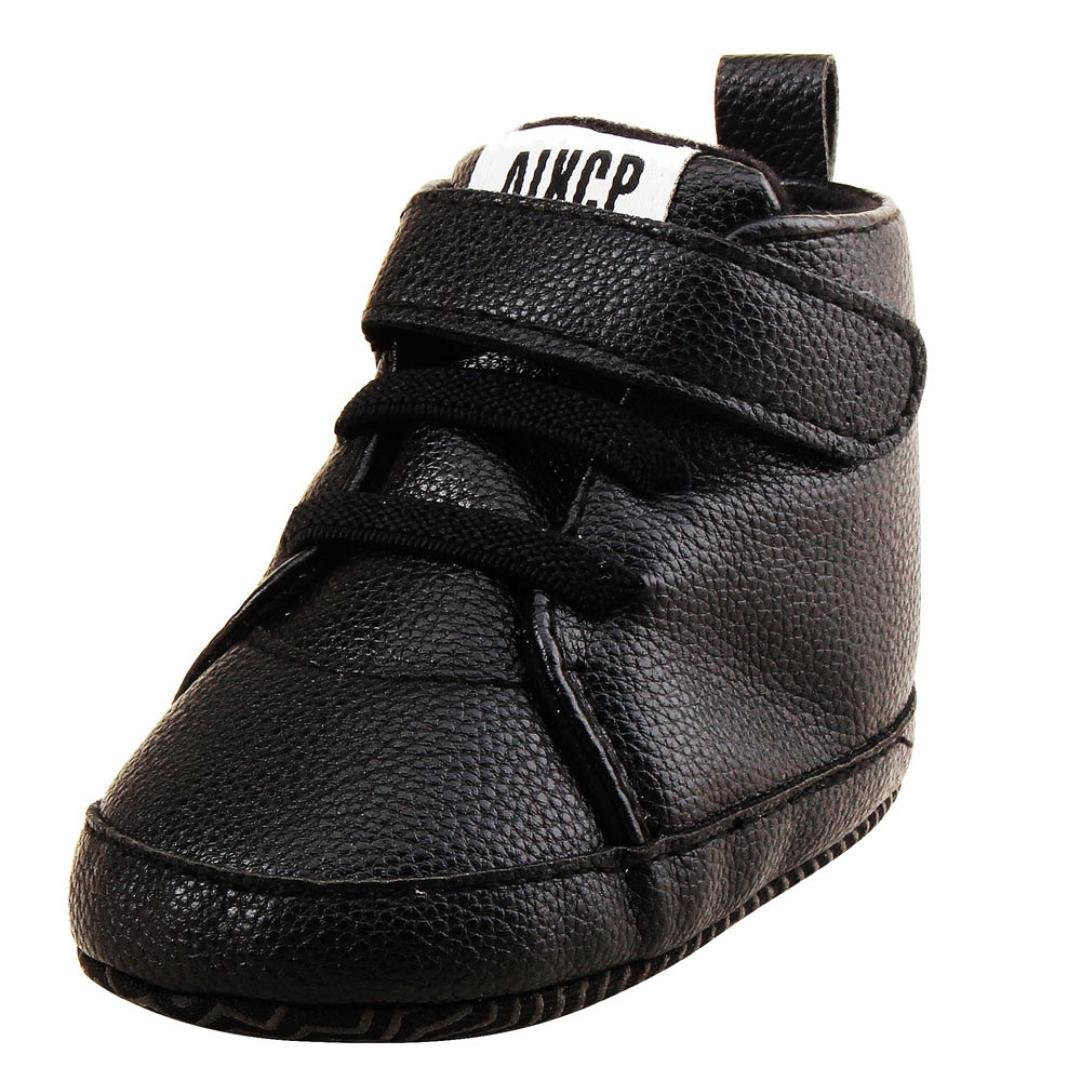 Amiley Autumn Winter Toddler Girls Boys Crib Shoes PU Leather Prewalker Soft Sole Sneakers (0~6 Month, Black)