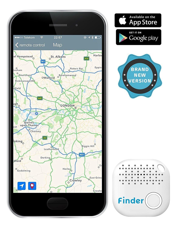 musegear app key finder (dark blue), NEW VERSION 2 I 3x louder I Easily find and track your keys, phone, remote, wallet I Smartphone Bluetooth-GPS pairing