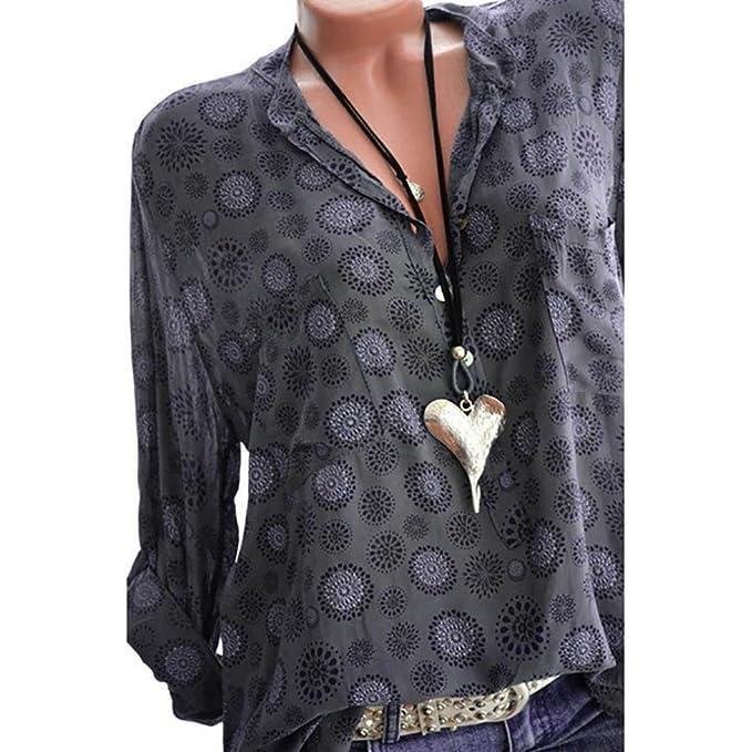 ☀ ☀️PANPANYshirt Mujer,PANY Talla extraImprimir Largo Manga Lunares Blusa con Botones Pullover