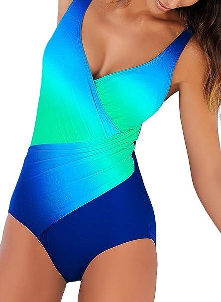 Aleumdr Mujer Traje de baño Cintura Alta Bañador Sujetador con Relleno Bañador Natacion Mujer Cuello V Azul Size M