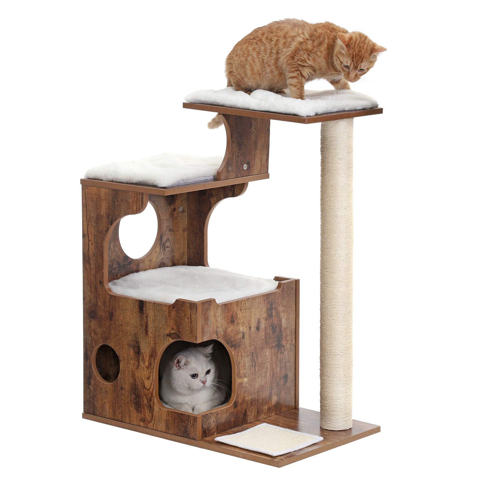 FEANDREA 34.6 inches Cat Tree, Medium Cat Tower with 3 Beds and House, Cat Condo, Sisal Post and Washable Faux Fur, Vintage, Rustic Brown and White UPCT70HW by FEANDREA