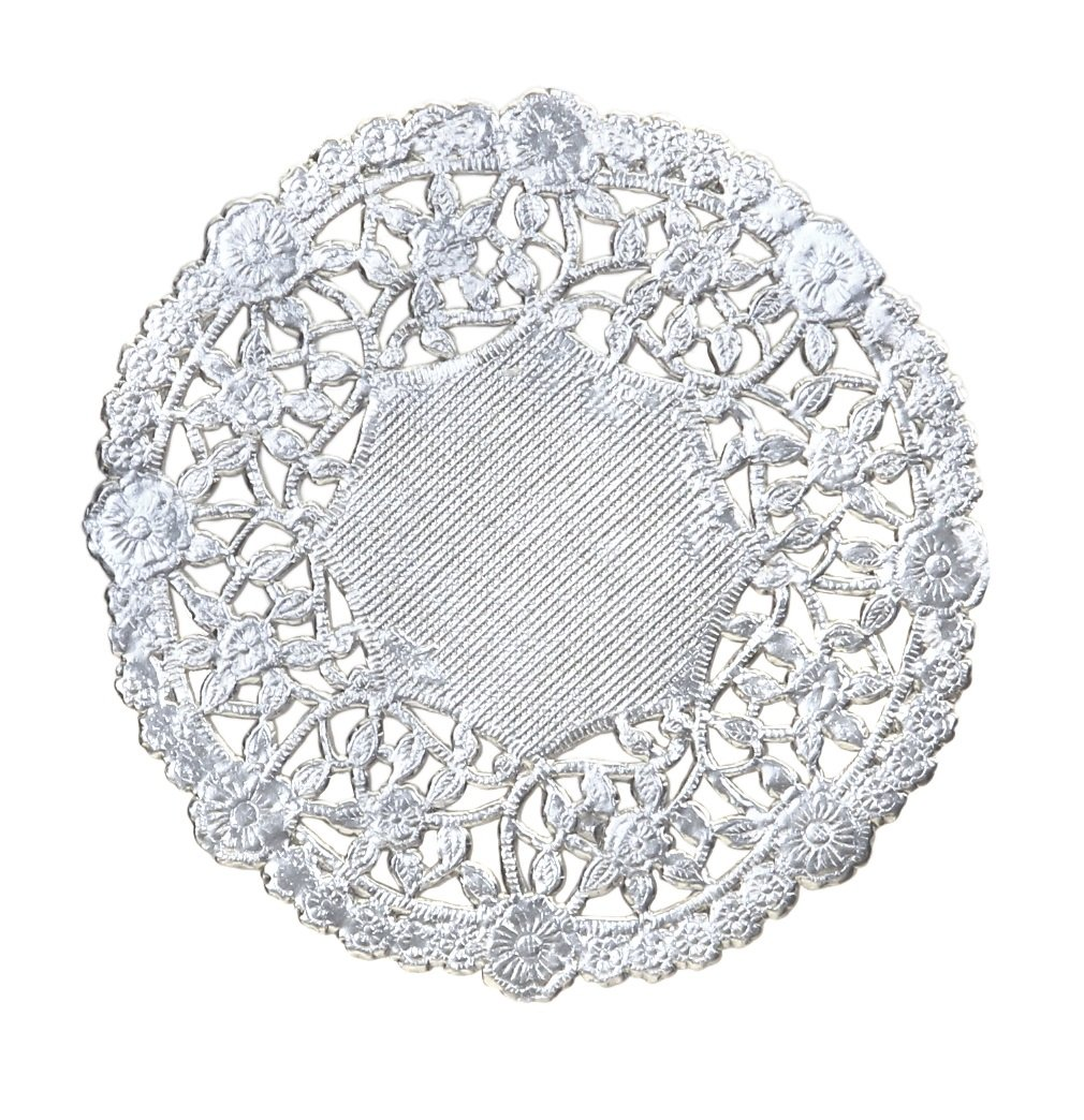 Hygloss Products 12 Inch Silver Foil Doilies - Round Doilies Made in the USA, 12 Pack