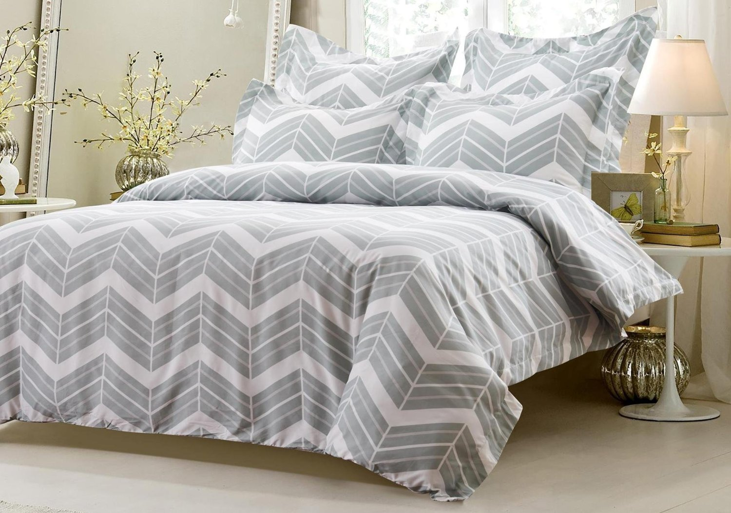 6pc Grey White Zig Zag Bedding Set