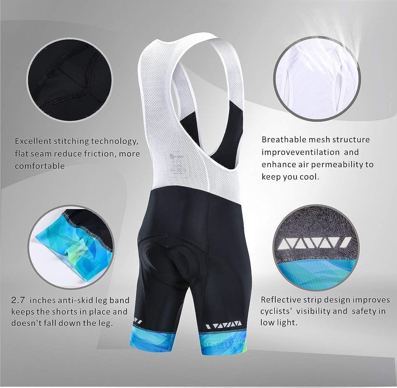MUCUBAL Mens Cycling Bib Shorts with 3D Breathable Pad Elastic Bike Bibs