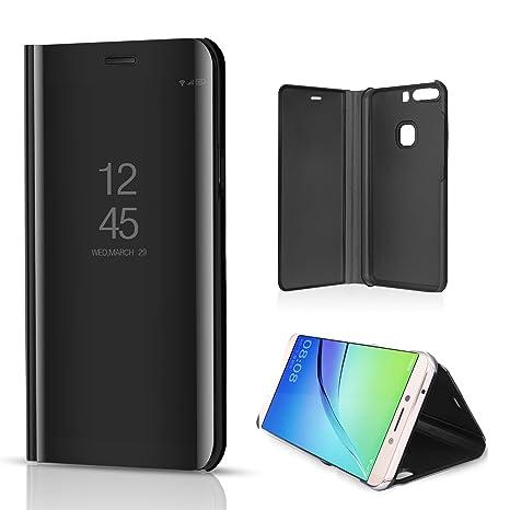 xinyunew Funda Huawei P10 Lite,Carcase P10 Lite+Protector de Pantalla Clear Standing Flip Case Caso Skin Espejo Estilo Libro Carcasa con óptica de ...