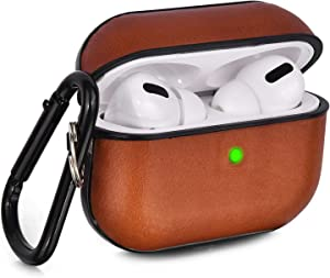 V-MORO Compatible with Airpods Pro Case Genuine Leather Airpod 3 Case for Airpods Pro [Front LED Visible] Protective Cover Skin Brown Men Women