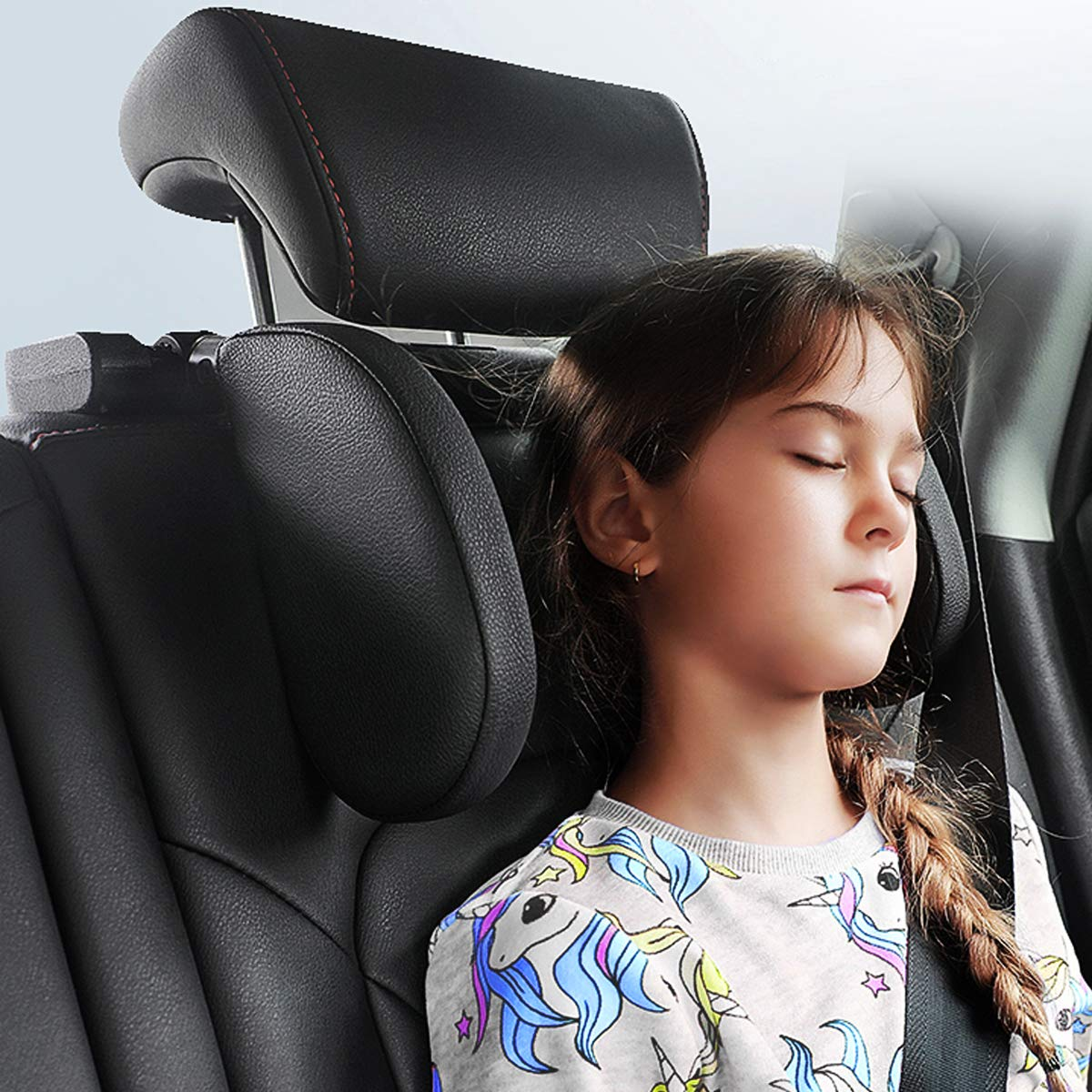 JZCreater Car Seat Headrest Pillow,Head Neck Support Detachable, Updated Premium Car Headset Pillow, 180 Degree Adjustable Both Sides Travel Sleeping Cushion for Kids Adult (Black)
