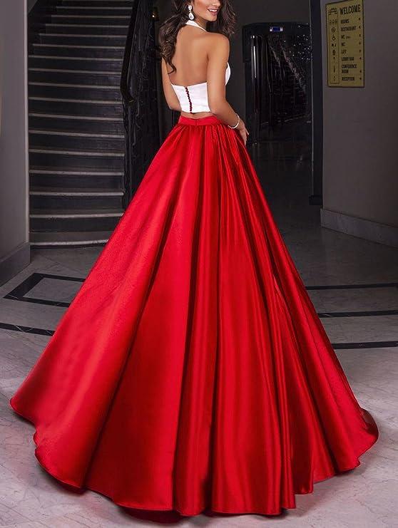 Halter Zweiteiler Satin Prom kleider Rote formalen Abend Partei ...