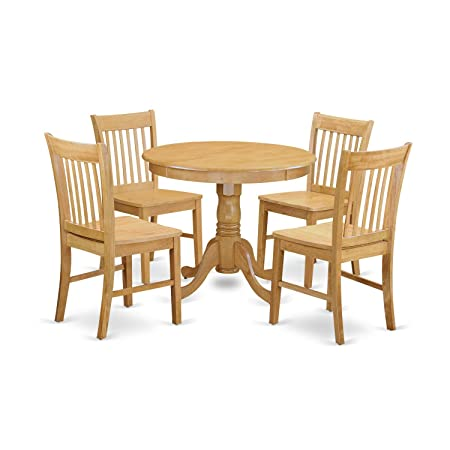 East West Furniture ANNO5-OAK-W 5 Piece Dining Table for Small Spaces and 4 Chair Set