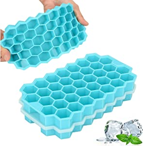 TeaRoo Ice Cube Trays, 2 Pack Silicone Ice Cube Molds with Lids, Easy-Release and Flexible 74-Ice Trays BPA Free, for Whiskey Cocktail, Stackable and Safe Ice Cube Molds - Upgraded