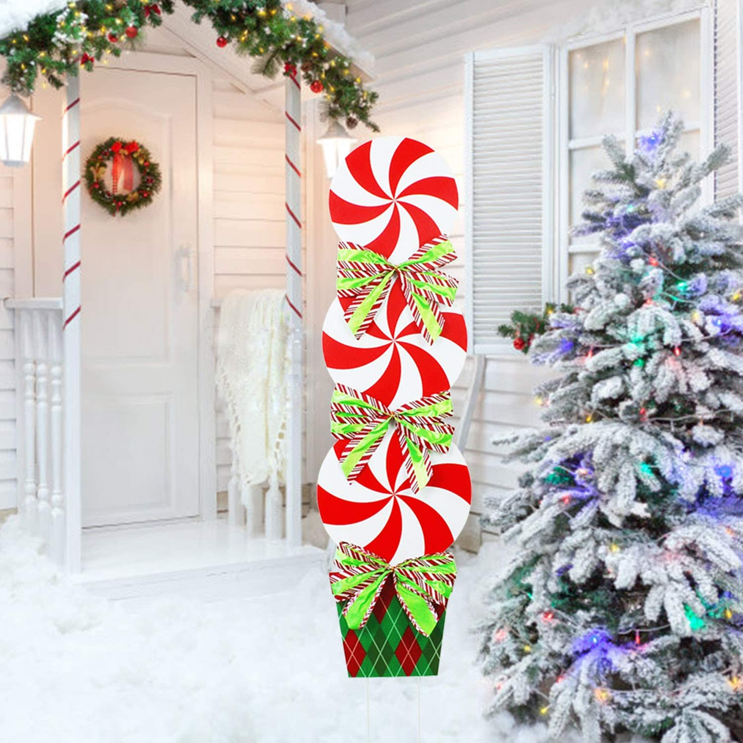 JSY-UP Christmas Decorations Outdoor -44In Candy Xmas Yard Stakes Signs- Halloween New Year Holiday Grinch Christmas Decor for Lawn Pathway Walkway Candyland Party Themed Party