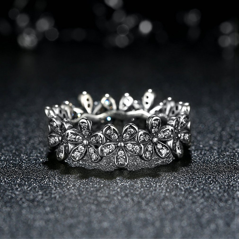 Clear CZ The Kiss Dazzling Daisy Meadow 925 Sterling Silver Stackable Ring