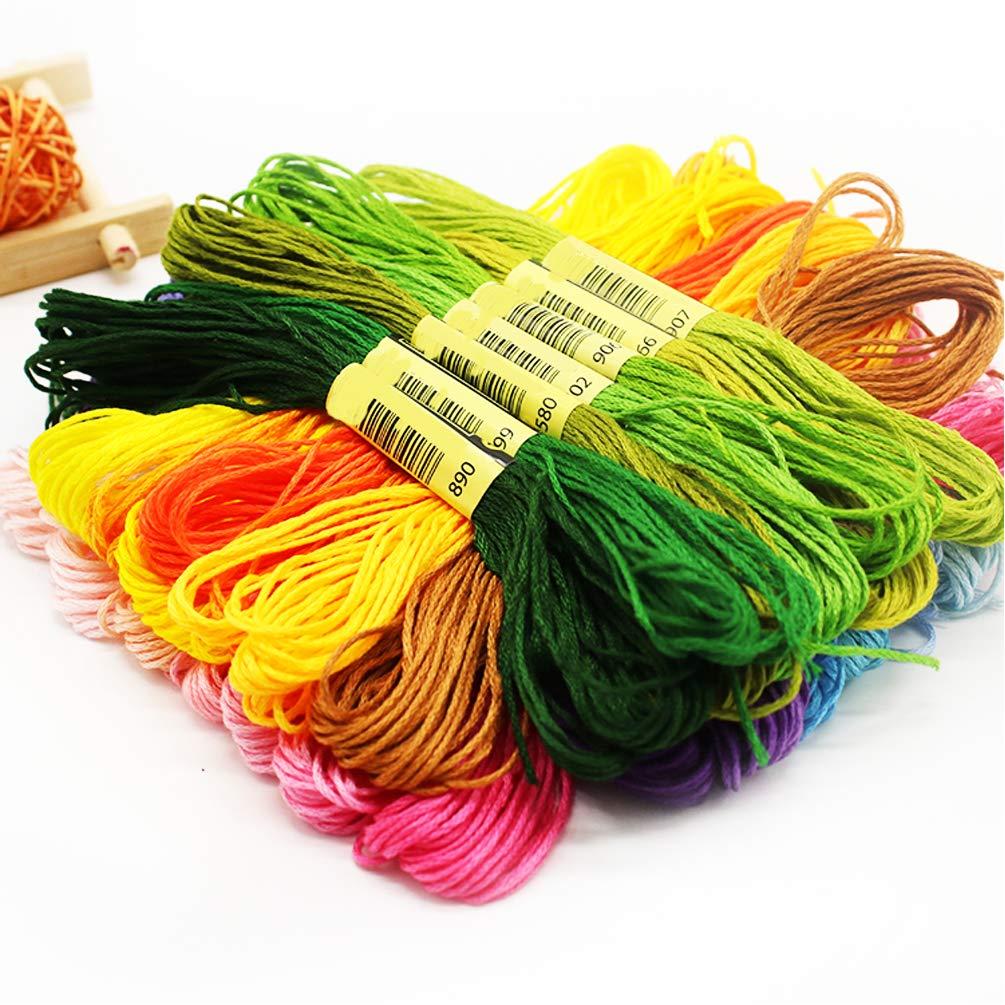 MXRS 50Pcs Skeins Embroidery Floss Cross Stitch Supplies Cross Stitch Thread with 16 Pcs Embroidery Needles