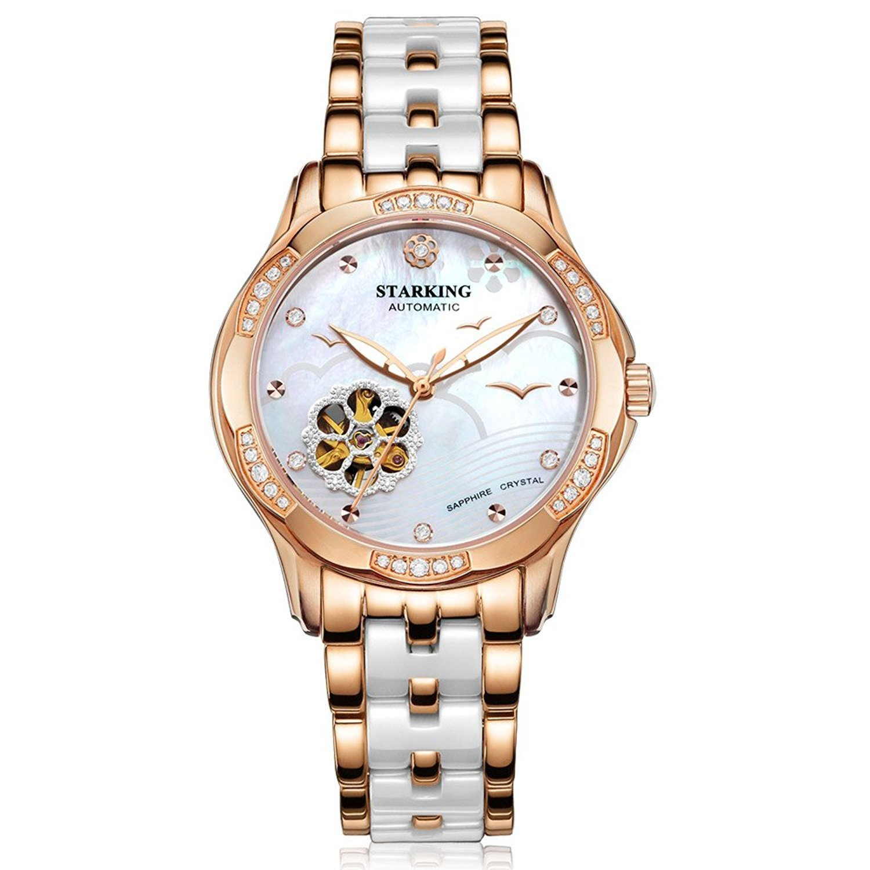 Starking Damen-al0231rc31 Seaside bicolor Skelett Automatik Uhr w-Keramik Edelstahl Armband