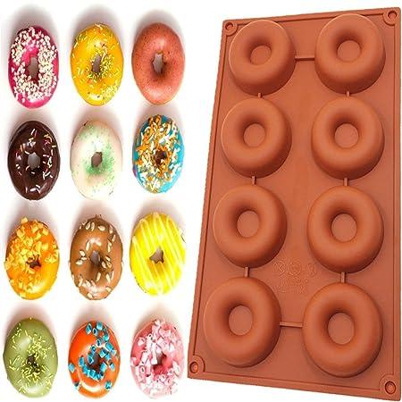 Emoyi 8 Cavity silicona Donut Pan Muffin Copas, molde de pasteles ...