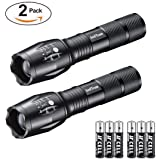 Tactical Flashlight, Swiftrans Ultra Bright LED Flashlight with Adjustable Focus and 5 Light Modes - Zoomable, IPX4 Water-Proof, High Lumens Cree XML T6 LED, 6 AAA Batteries Included(2 pack)