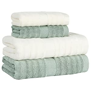 Lymga Bamboo Fiber Towel Set(2 Bath and 2 Hand Towels) - Milky White/Light Green