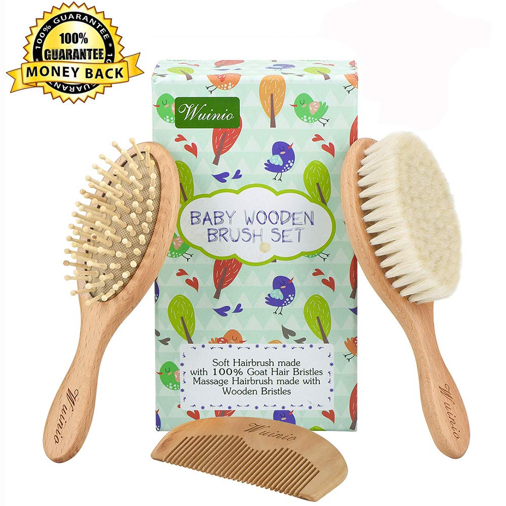 4Pcs Wooden Baby Goat Hair Brush and Comb Set Grooming kit for Newborns Toddlers/Soft Goat Hair Bristles for Cradle Cap/Wood Bristles Brush for Massage/Silicone Bath Brush/Baby Shower Registry Gift Wuinio